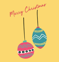 Christmas card cute festive vintage ball flat vector