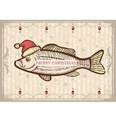 Christmas fish in Santa red hatVintage drawing vector