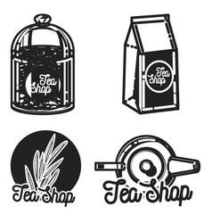 Color vintage tea shop emblems vector