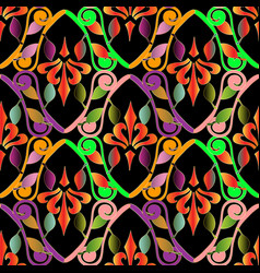 colorful floral vintage seamless pattern vector image