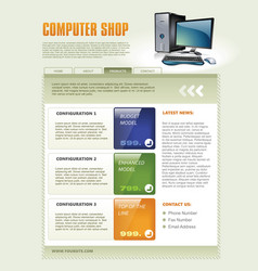 computer shop web page template detailed vector image vector image