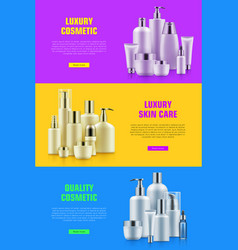 Cosmetic bottle mockup ads vector