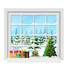 Cozy interior room with window vector