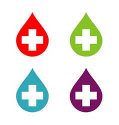 cross and drop water logo template design eps 10 vector image