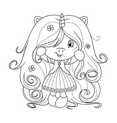 Cute baby unicorn with super long hair with vector