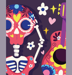 Day dead skeleton and guitar flowers vector