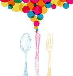 Diversity colors retro cutlery sketch style vector image