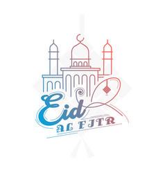 Eid al fitr design isolated on white background vector