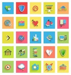 Flat icon set universal icons vector image