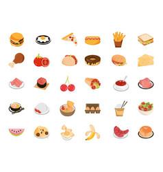 food menu restaurant snack ingredient flat style vector image