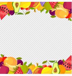 Fruits frame healthy vitamin food watermelon vector