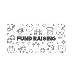 Fund raising minimal banner in thin line vector