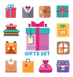 Gifts set in flat style vector image