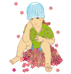 Girl on the flowers vector