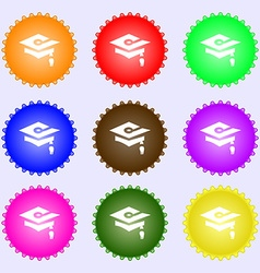 Graduation icon sign big set of colorful diverse vector