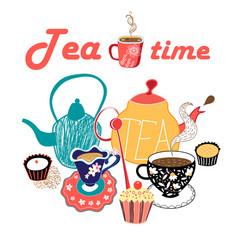 Graphic a tea set vector