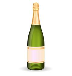 Green bottle sparkling wine wit blank label vector