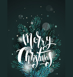 greeting card with christmas tree branches vector image
