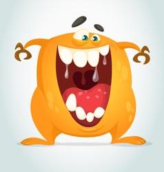 Happy cartoon orange monster vector image