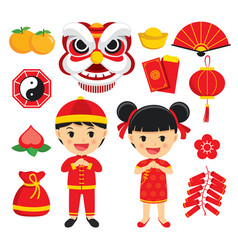 Happy chinese new year decoration traditional vector