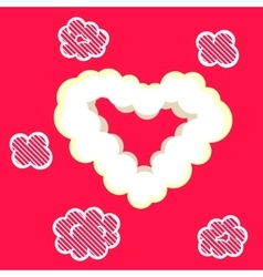 Heart cloud valentine card template vector image