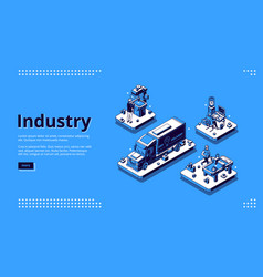 industry isometric landing page manufacturing vector image