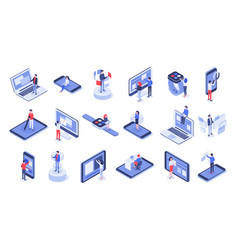 Isometric user interface online office device vector