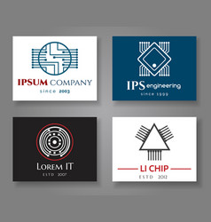 It and engineering logo company card set vector