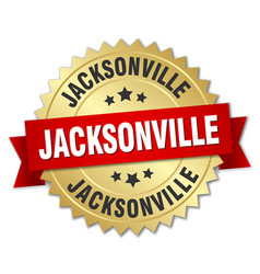 Jacksonville round golden badge with red ribbon vector