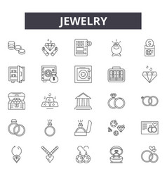 jewelry line icons signs set outline vector image