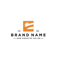Letter e sun logo design vector
