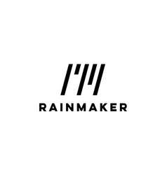 letter r and m with rain logo design concept vector image
