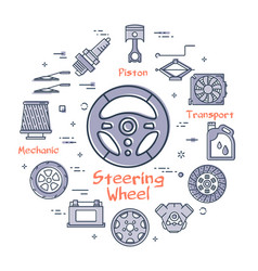linear round banner of steering wheel vector image