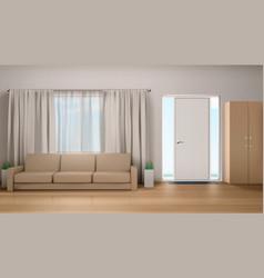 Living room interior with couch and wardrobe vector