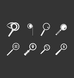 magnifying glass icon set grey vector image