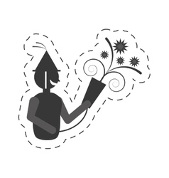 Man with party horn icon vector