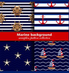 marine background set seamless patterns four vector image