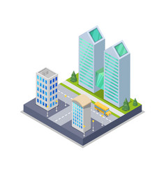 modern town district isometric 3d icon vector image