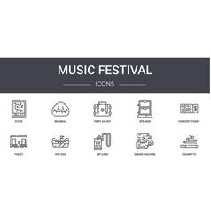 Music festival concept line icons set contains vector