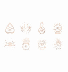 Mystic boho logo design elements with moon hands vector