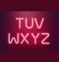 neon light type from pink led neon lamps in vector image