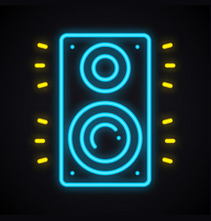 neon music column sign glowing audio speakers vector image