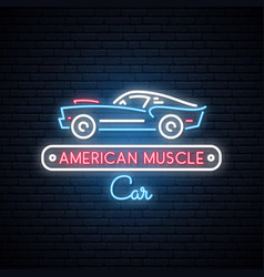 Neon silhouette of classic american muscle car vector