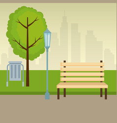 park scene outdoor icons vector image