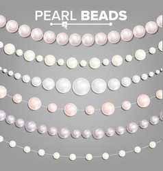 pearl beads set 3d realistic shiny white vector image
