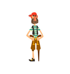 pirate character with a wooden leg and revolvers vector image
