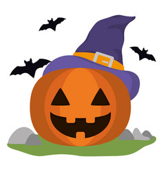 pumpkin with witch hat and bats vector image