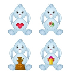 rabbits sitting with gift set vector image