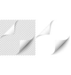 realistic white paper corners set with soft shadow vector image