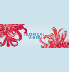 red chrysanthemum floral wide banner greeting vector image